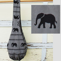 Elephant Veggie-Dye Long Sling Reversible Bag - GREY-Handmade-Fair Trade