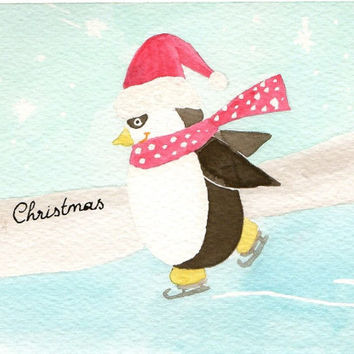 Original watercolor skating penguin Christmas Card