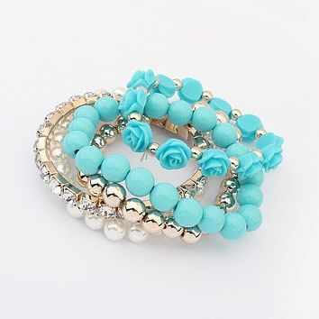 Multilayer Rose Elastic Bracelet Set