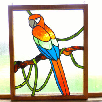 Antique Stained Glass Window/ Wall Hanging of a Parrot 1970's Vintage, Home Decor, Business Decor, gift for her