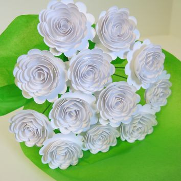 "White Carnations on Stems, Bouquet of 12 Scalloped Paper Roses, 1.5"" Flowers, January Birth Month"