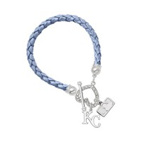 Kansas City Royals Devotion Silver Tone Crystal Charm Bracelet (Blue)