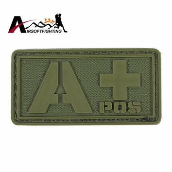 APOS Blood Type PVC Patch with Magic Stick Back Tactical Military Paramedic 3D Rubber Rescue Badge Vest Helmet Bag Patches