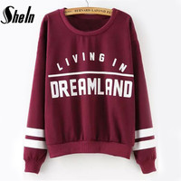 High Street Autumn Kawaii Pullovers Women's Casual Tops Long Sleeve Wine Red Round Neck Letters Print Sweatshirt