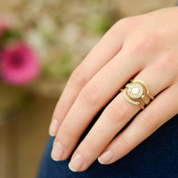 Wedding band ring set, stacking rings, 18K unique gold ring, gold wave ring, delicate diamond ring, art deco engagement ring, size 4 5 6 7 8