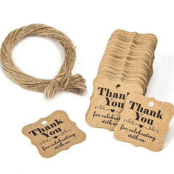 100pcs Wedding  Rustic Tags Thank You for Celebrating