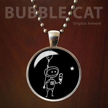 Robot Kid with Ice Cream and Star Pendant, Robot Necklace, Glass Dome, Robot Necklace, with Chain