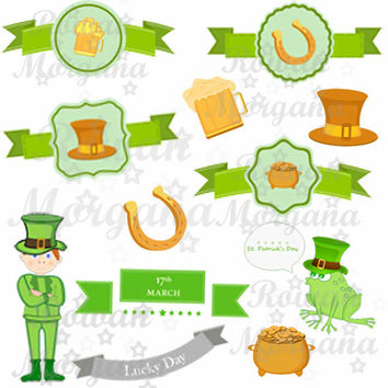 ST. PATRICK'S DAY Jpg Png Digital Download,digital collage sheet,scrapbook, digital leprechaun, vintage scrapbook supplies for scrapbooking