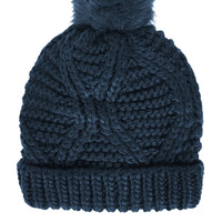 Fur Pom Cable Beanie - New In This Week - New In - Topshop