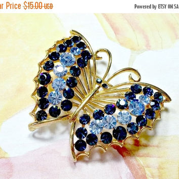 Vintage bUTTeRFLy bROOcH M Jent Designer Signed Blue Rhinestones Gold Tone Metal Pretty In Nice Condition Rhode Island Company