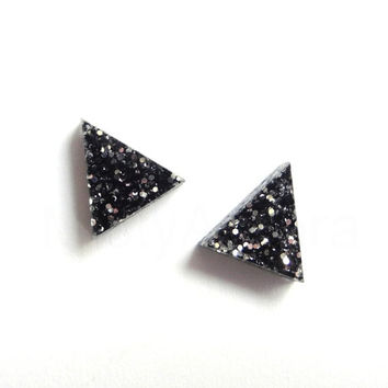 Black Glitter Triangle Stud Earrings,Glitter Earrings,Sparkle Earrings,Triangle Earrings,Black Geometric Jewelry,Tiny Pyramid Studs (E239)