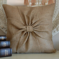 Burlap bow pillow cover