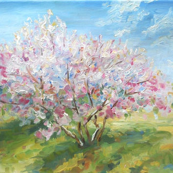 Garden of Blooming Apple Trees Landscape Oil Painting Flowers Spring Sunny Garden Wall Decor Picture Still Life Nature Flowering Modern Art