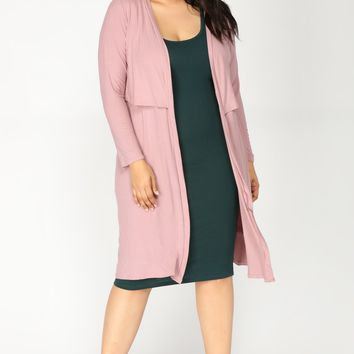 Ali Ribbed Cardigan - Mauve