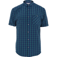 River Island MensNavy plaid short sleeve shirt