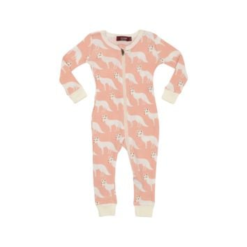 Pink Fox Zipper Pajama