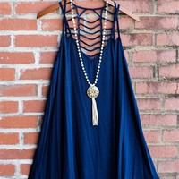 Twisted Love Double Strap Swing Dress - Navy