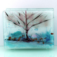 fused glass napkin holder bright clear  whiteness by virtulyglass