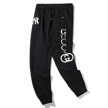 GUCCI x NY co-branded new letter print casual sports pants black