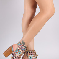 Tribal Peep Toe Lace-Up Chunky Heeled Mule Booties