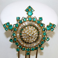 Rhinestone Hair Comb Emerald Green Gold Crystal Wedding Formal Bridal Hairpiece Jeweled Headpiece Regal Presentation Vintage Costume Jewelry