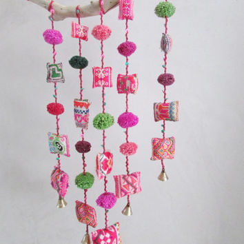 Driftwood and Textile Pockets Mobile, Colorful Joyful Hanging Wall Home Decor, Eco Friendly Recycled Ornament