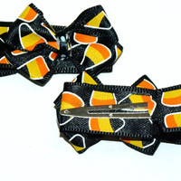 Black candy corn hair clips- Halloween clippies- candy accessories