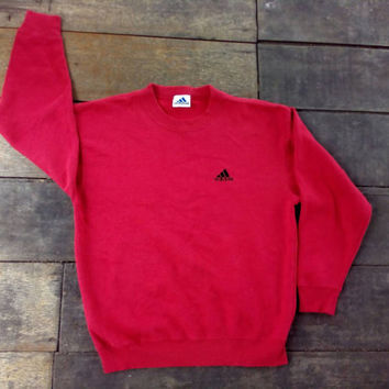 Adidas small Logo red sweatshirt sports wear vintage