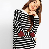 Black And White  Elbow Patchwork  Pullover Sweater