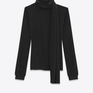 Scarf Blouse in Black Silk Crêpe