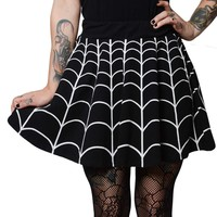 Spiderweb White Skater Skirt