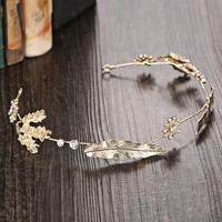 Headwear Gold Vintage Wedding Dress Hairband [9284024708]
