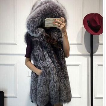 Faux Fur Coats Women Thicken Women Sleeveless Faux Fur Vest Hooded Fur Vest Women Streetwear Fur Waistcoat Colete Feminino 6XL