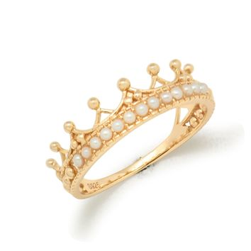 Natural White Pearl Crown Luxury Distinguish 925 Sterling Silver Ring