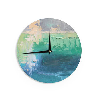 "Carol Schiff ""Sea Music"" Teal Painting Wall Clock"