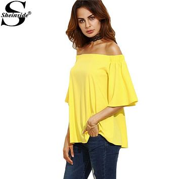 Sheinside Yellow Casual Shirts Tops Off Shoulder Top Women Blouses 2016 Autumn Half Sleeve Sexy Fall Loose Blouse