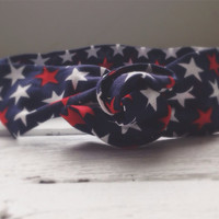 Red White and Blue Stars 4th of July Patriotic America Summer Twist Head Scarf Dolly Bow Wire Headband Bun Wrap