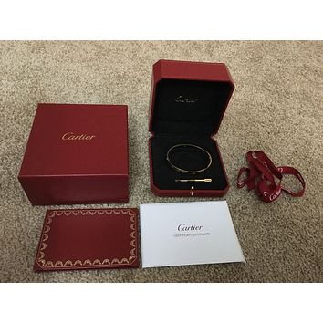 Authentic 18K Yellow Gold Cartier Love bracelet Size 21 Box/Certificate Included