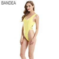 BANDEA 2016 New Sexy One Piece Swimwear Backless High Cut Swimsuit Womens Thong Bathing Suits Leotard Body Suit Catsuit