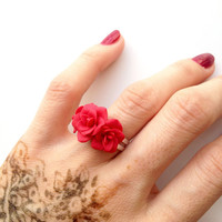 Red flower ring, red jewelry, red flower, flower ring, polymer clay, jewelry, ring, red, red jewelry ring, red flower jewelry, red ring