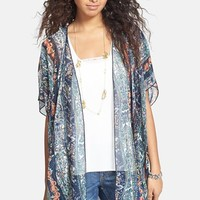 Band of Gypsies Print Chiffon Kimono Jacket (Juniors)