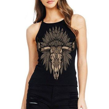 Women's Soft Ribbed Knit Halter Neck Tank Top with Bull Print