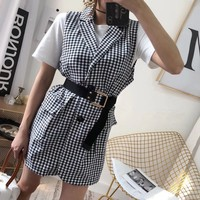 """Burberry"" Women Fashion Temperament Multicolor Tartan Tailored Collar Sleeveless Vest Mini Dress"