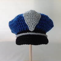 Baby Police Officer Policeman Hat - Photography Prop - Baby Sheriff - Newborn - 0-3 - 3-6 - 6-9 - Crochet Baby Police Hat - Blue Hat