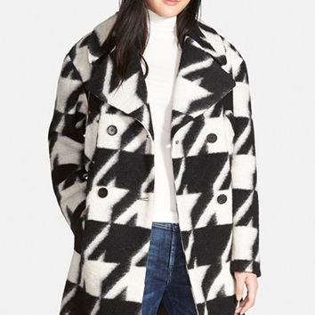 Women's 7 For All Mankind Long Houndstooth Coat,