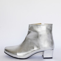 Edie Silver Heeled Ankle Boots, Vegan