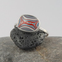 Vintage Fordite (detroit agate) and Silver ring- blue red white