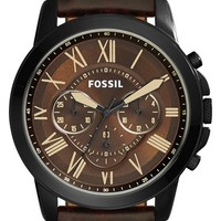 Fossil 'Grant' Chronograph Leather Strap Watch, 45mm - Brown