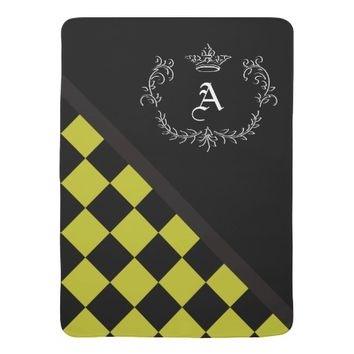 Personalized Yellow Blck Checkerboard Crown Flrish Swaddle Blanket