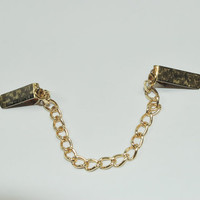 Vintage Sweater Chain Collar Clip Goldtone Textured Pattern Gorgeous Single Chain